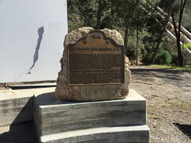This memorial plaque at Power Plant No. 2 was dedicated on the 50th anniversary of the St. Francis Dam collapse.