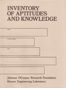 Inventory of Aptitudes and Knowledge 1